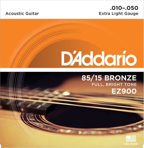 EZ900 D'Addario Great American 85/15 Bronze Extra Light Acoustic Guitar Strings (10-50)