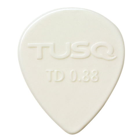 TUSQ Tear Drop Pick .88mm White (Bright) 6 Pack