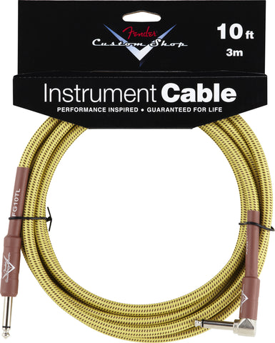 Fender® Custom Shop Performance Series Cable, 10', Tweed, Angled