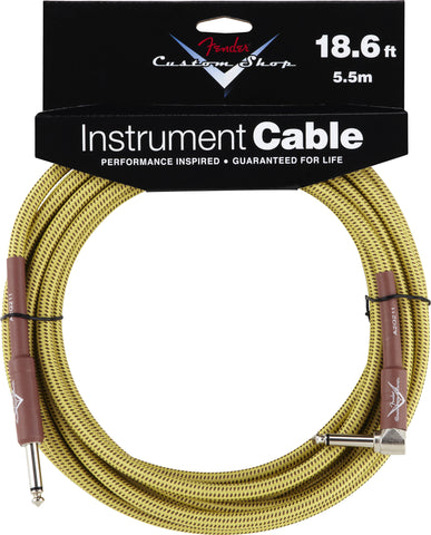 Fender® Custom Shop Performance Series Cable, 18.6', Tweed, Angled