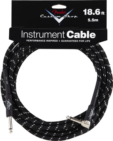 Fender® Custom Shop Performance Series Cable, 18.6', Black, Angled