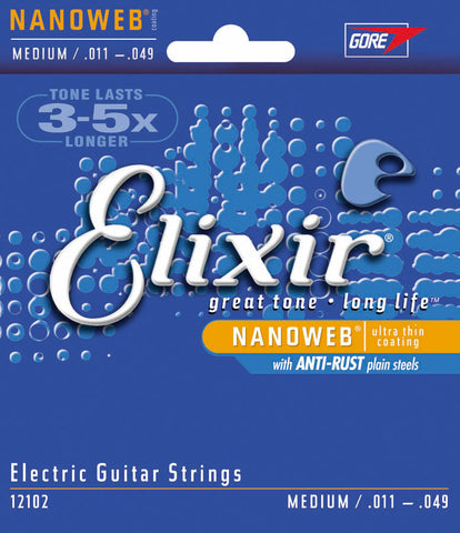Elixir Strings Electric Guitar Strings w NANOWEB Coating, Medium