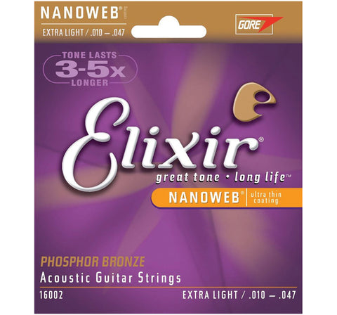 Elixir Strings Phosphor Bronze Acoustic Guitar Strings w NANOWEB Coating, Extra Light