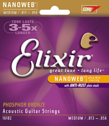 Elixir Strings Phosphor Bronze Acoustic Guitar Strings w NANOWEB Coating, Medium