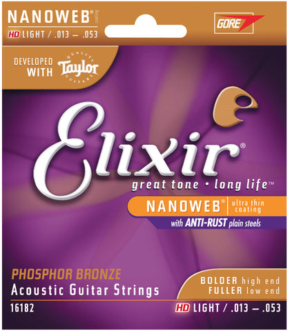 Elixir Strings Phosphor Bronze Acoustic Guitar Strings w NANOWEB Coating, HD Light