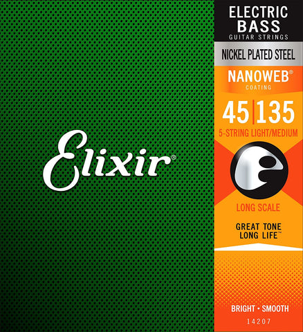 Elixir Strings Nickel Plated Steel 5-String Bass Strings w NANOWEB Coating, Long Scale, Light/Medium (.045-.135)
