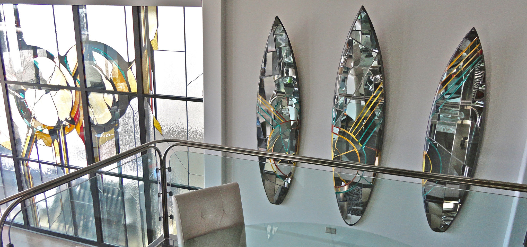 Mirror Mosaic Surfboard Art Glassd
