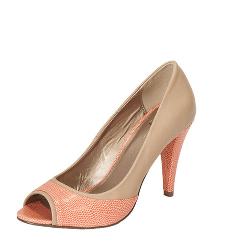 Ginnifer Heel in Coral & Tan by Coral 8 (FS)