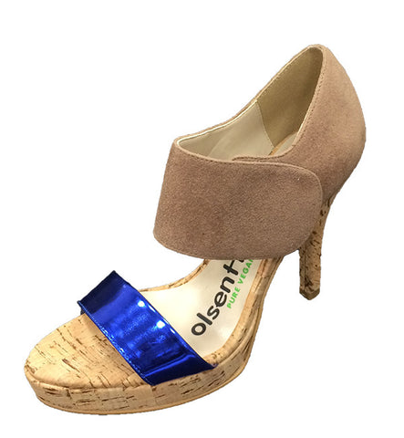 Balance Heel in Taupe & Blue by Olsenhaus