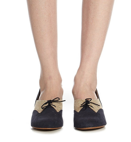 Anise Low Heel in Navy & Straw by Roni Kantor