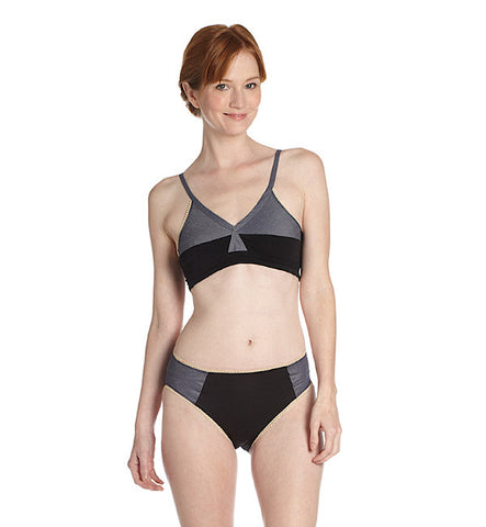 Color Block Organic Keyhole Panty in Black & Navy by Brook There (FS)