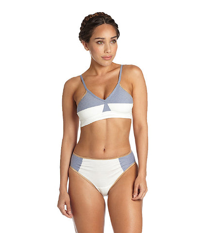 Color Block Organic Keyhole Panty in White & Blue by Brook There (FS)