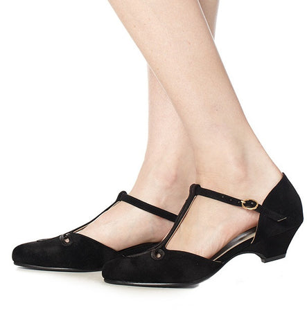 Lily Low Heel in Black Velvet by Roni Kantor