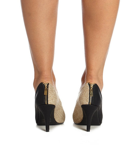 Oleander Heel in Black & Straw by Roni Kantor
