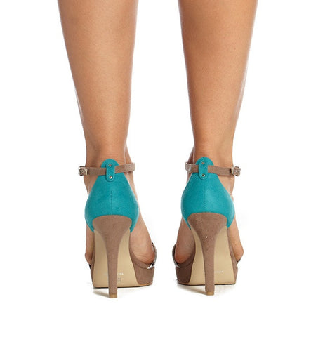 River High Heel in Snake and Turquoise by Olsenhaus