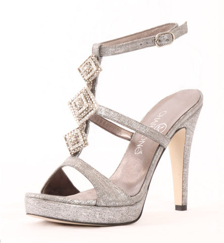 Sagittarius Evening Heel in Platinum by Charmoné