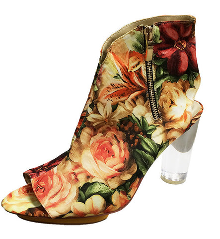 Once-Worn Spartali Heel/Bootie in Red Floral by Arden Wohl, Size 7 (FS)