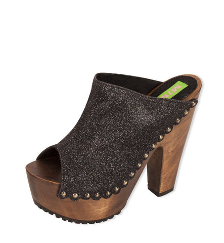 Tall Kitty Clog in Black by Mink (FS)