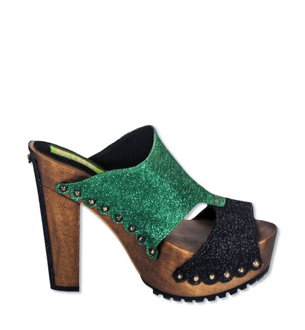 Italian Kitty Heel in Charcoal & Green by Mink (FS)