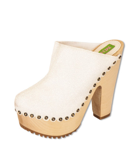 Tall Kitty Clog in White by Mink (FS)