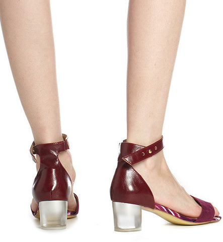 Once-Worn Vienna Low Heel Sandal in Plum by Arden Wohl, Size 7 (FS)