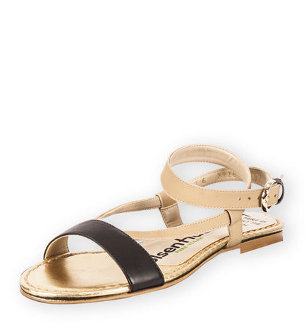 Village Sandal in Nude & Black by OlsenHaus