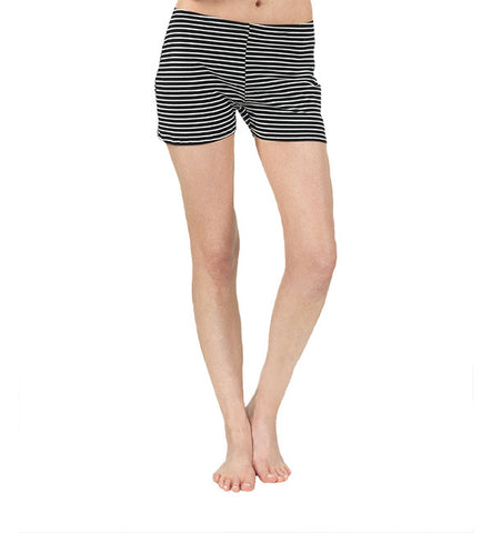Yarn Dye Jersey Shorts in Black & White by Brook There (FS)