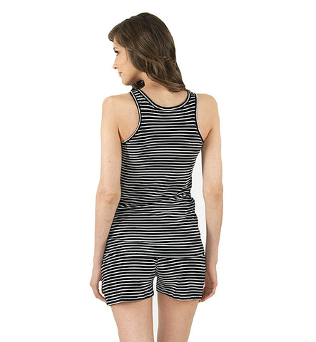 Yarn Dye Stripe Tank in Black & White by Brook There (FS)
