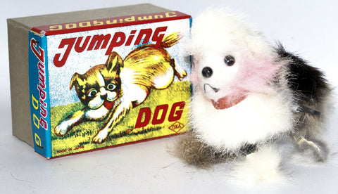 Vintage Wind-up Fur Covered JUMPING DOG Figure in Box, made by OKA, Japan