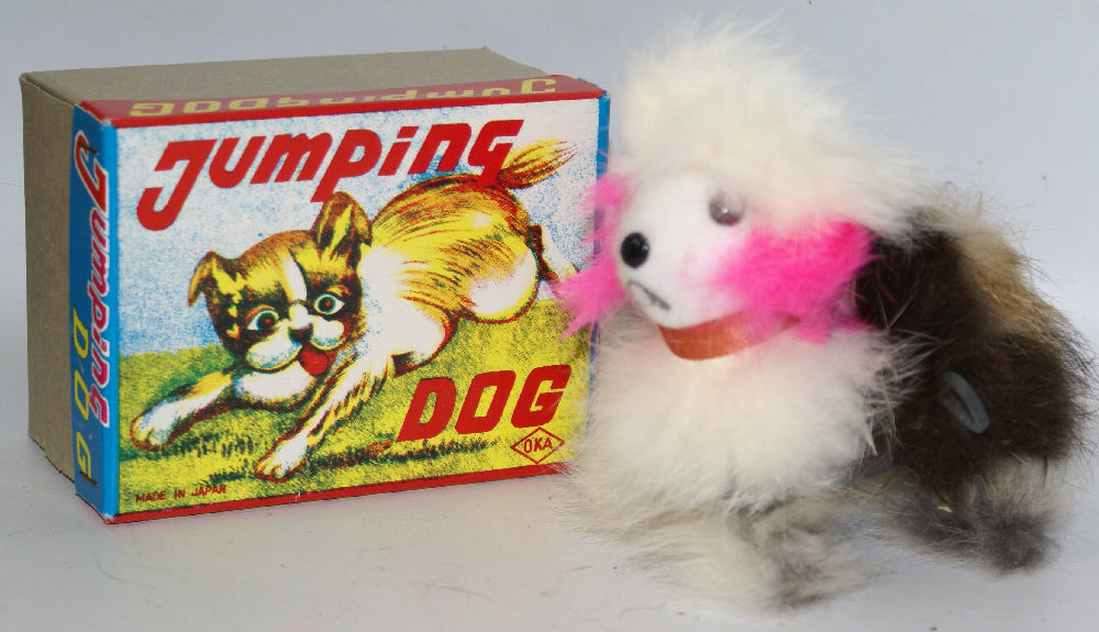 Vintage Wind-up Fur Covered JUMPING DOG Figure in Box, OKA (Japan) - Continental Hobby House