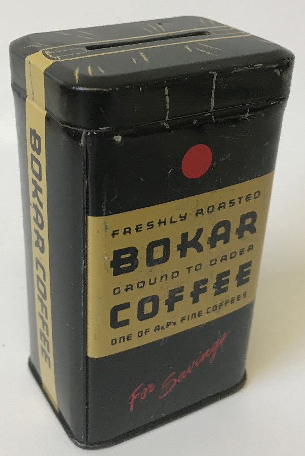 Vintage Tin Lithographed BOKAR COFFEE Advertising Coin Savings Bank - Continental Hobby House