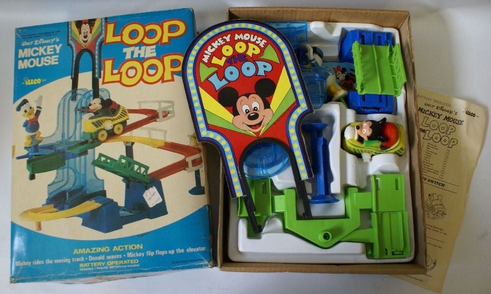 Vintage 1970's Walt Disney Mickey Mouse LOOP THE LOOP Playset - Continental Hobby House