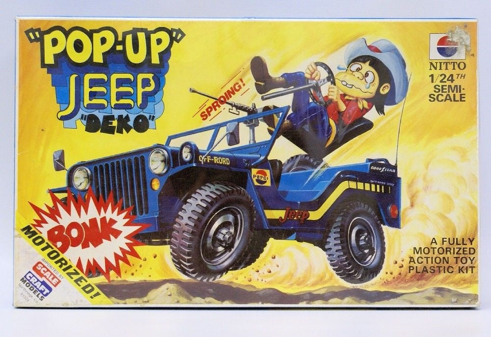 "RARE Vintage 1970's NITTO (Japan) ""DEKO"" Motorized Pop-up Jeep Model Kit, SEALED - Continental Hobby House"