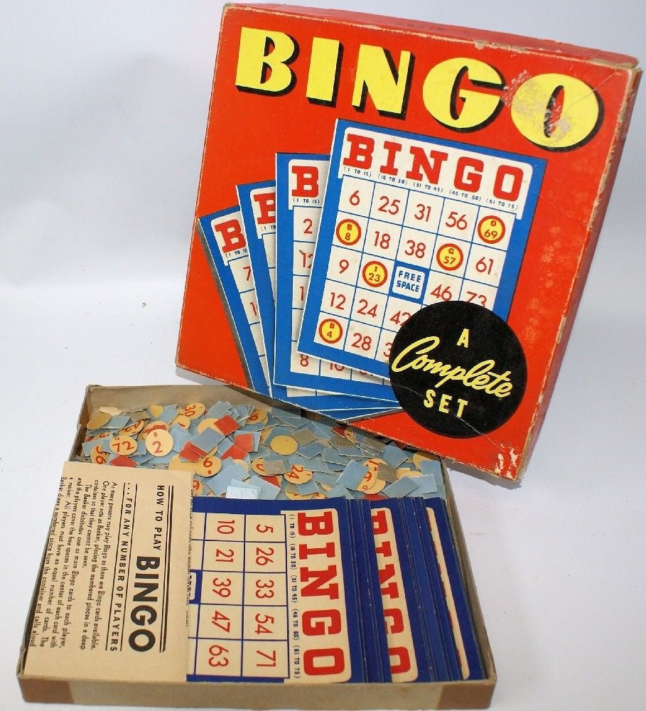 Vintage 1950's Game of BINGO #2974 by Whitman Publishing, fun family game! - Continental Hobby House