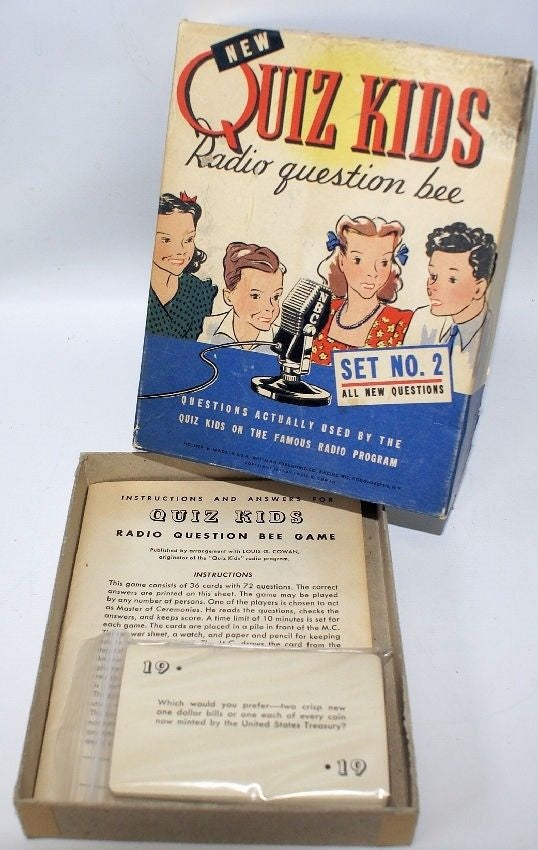 Vintage 1941-42 QUIZ KIDS Radio Question Bee Game Set #2 by Whitman, in Box! - Continental Hobby House