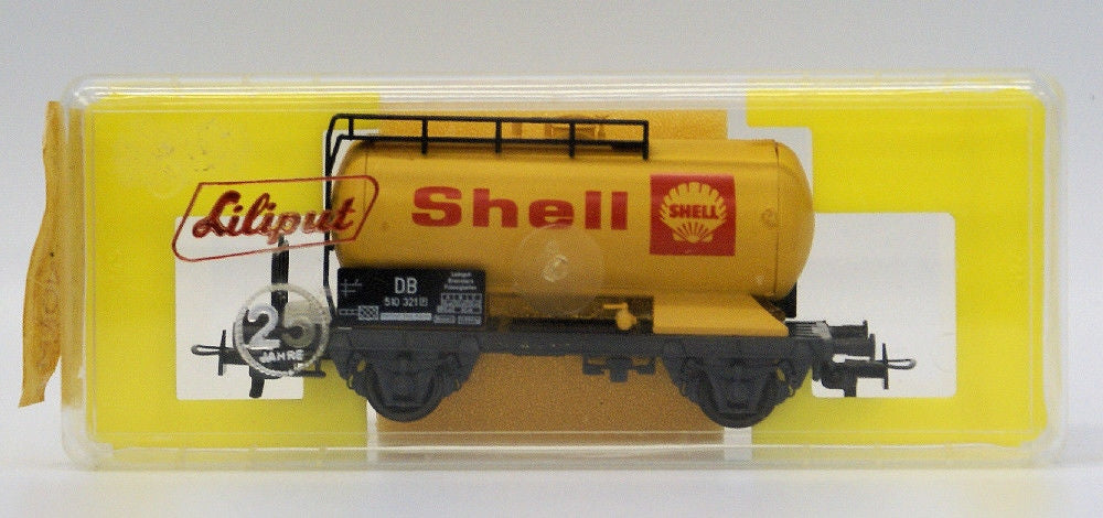 Vintage LILIPUT Train HO #250 S SHELL Oil Tanker Tank Freight Car DB 510 321 - Continental Hobby House