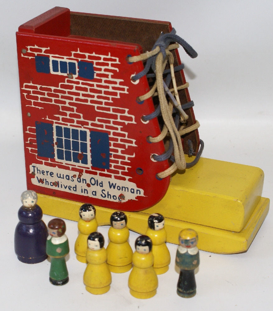 Vintage HOLGATE Wooden Playset ' Old Woman Who Lived In A Shoe ' with Figures - Continental Hobby House