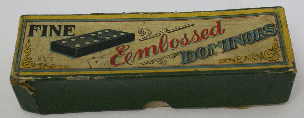 Complete Box of 28 FINE EMBOSSED DOMINOES - Continental Hobby House