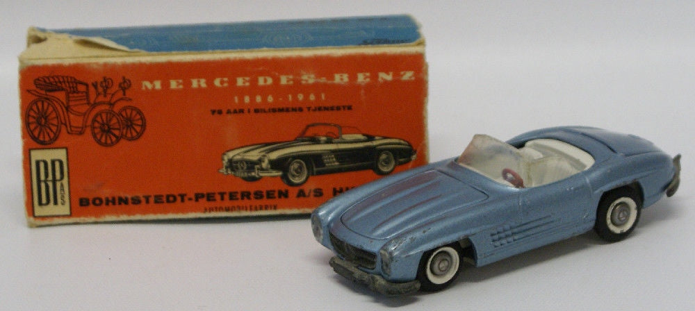 Vintage TEKNO (Denmark) 1:43 Scale Diecast MERCEDES BENZ 300SL Blue Convertible - Continental Hobby House