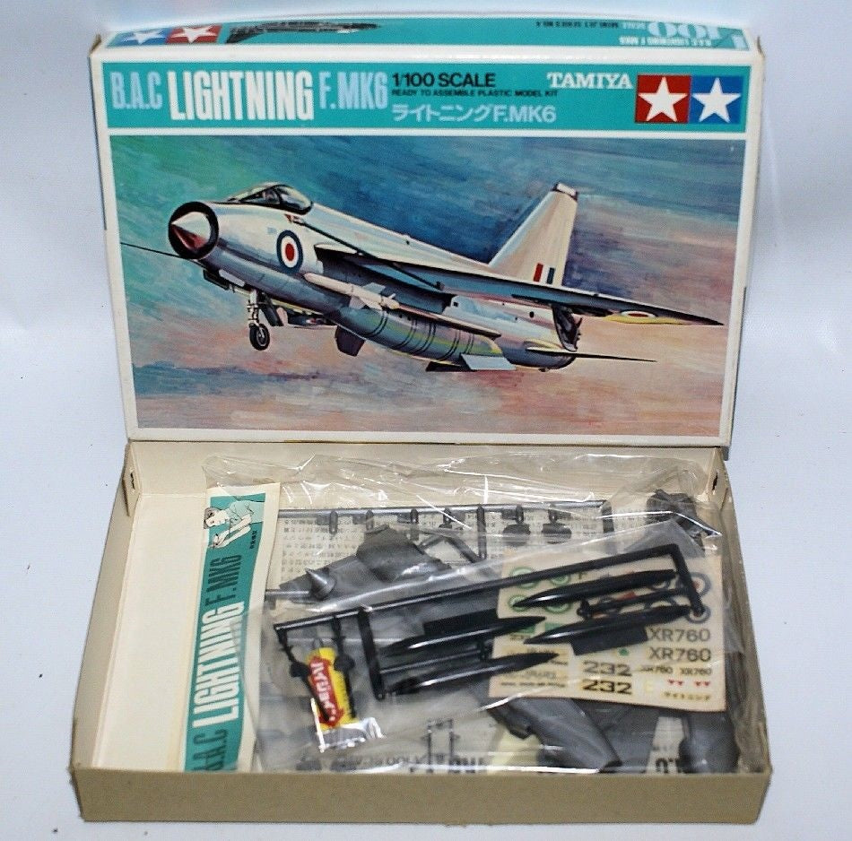 Vintage TAMIYA 1:100 B.A.C Lightning F. MK6 Plane Airplane Model Kit PA1004 - Continental Hobby House