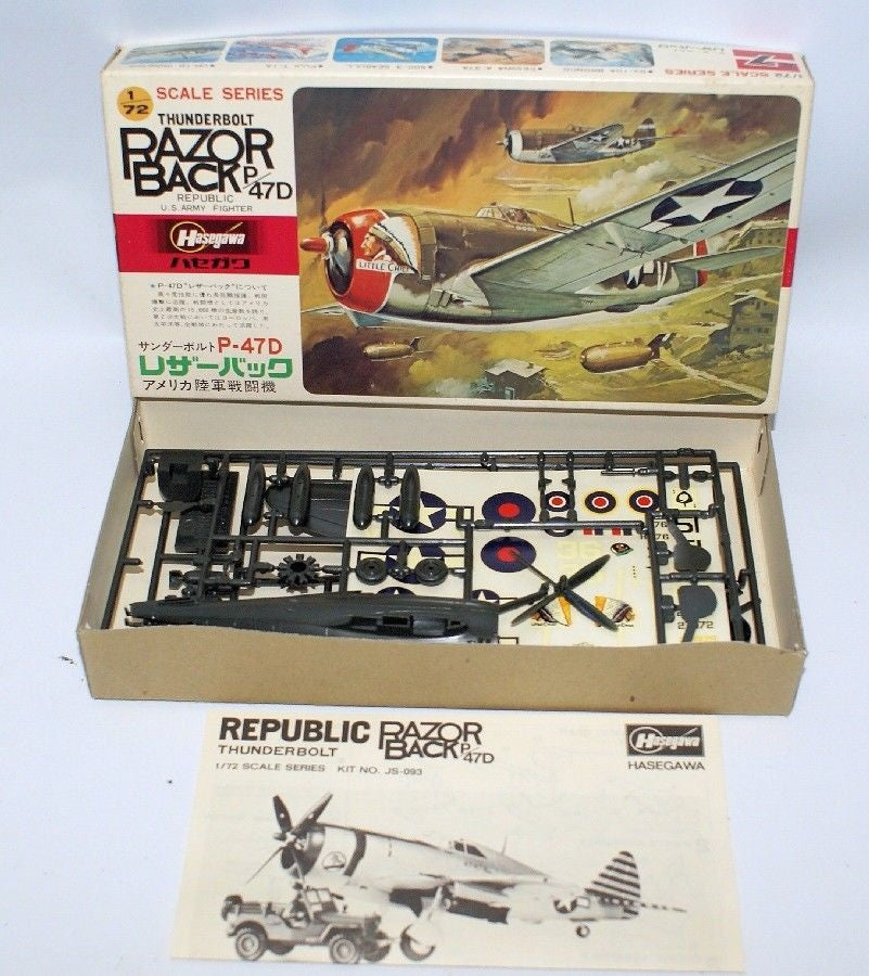 HASEGAWA 1:72 Scale THUNDERBOLT RAZORBACK P-47D US Army Fighter Jet Model Kit - Continental Hobby House