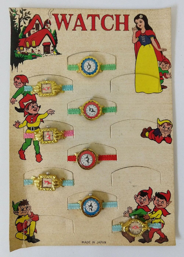 Old store stock WALT DISNEY Style Children's Watch Store Display with 8 watches - Continental Hobby House