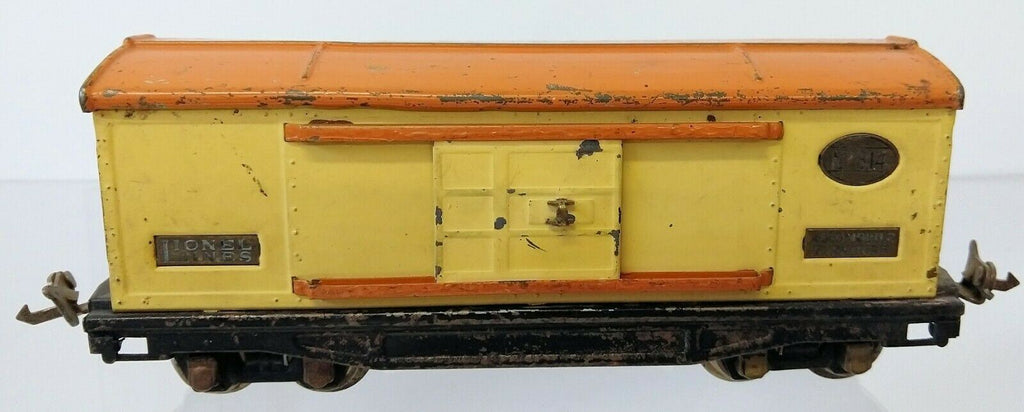 Vintage LIONEL Prewar O Gauge #814 AUTOMOBILE FURNITURE Cream/Orange Box Car - Continental Hobby House