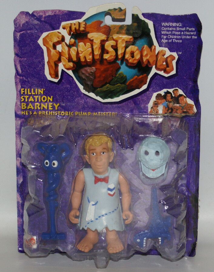"Mattel 1993 THE FLINTSTONES #11657 Fillin' Station Barney 4-1/2"" Action Figure - Continental Hobby House"