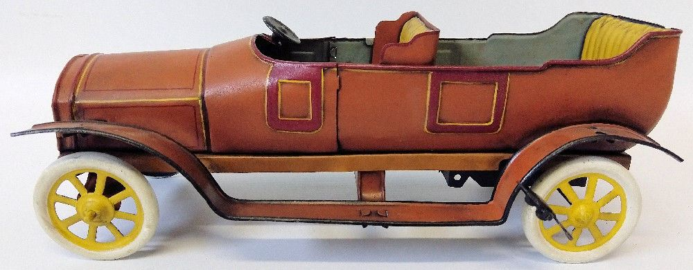 1920's Bing (GBN) Germany Tin Clockwork Windup Open Touring PhantomToy Car - Continental Hobby House