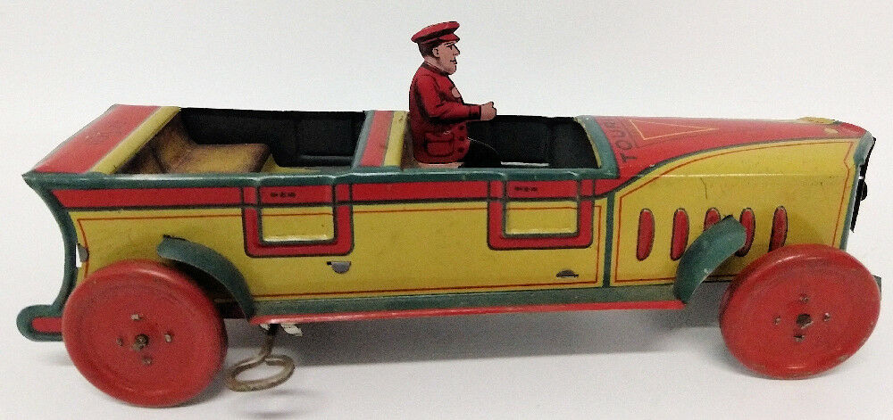 ULTRA RARE 1920's T.F.S. Co. New York, USA Tin Clockwork Tourist Toy Touring Car - Continental Hobby House