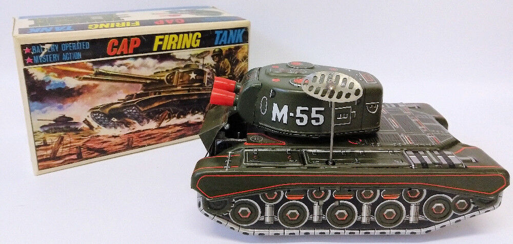 RARE 1950's ALPS (Japan) Tin Battery Operated CAP FIRING ARMY TANK Truck Toy - Continental Hobby House