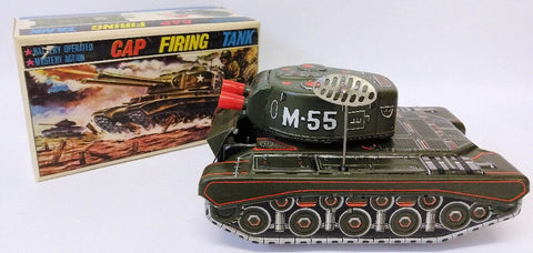 RARE 1950's ALPS (Japan) Tin Battery Operated CAP FIRING ARMY TANK Truck Toy