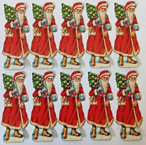 Lot of 10 Vintage 1930 German SANTA CLAUS Christmas Embossed Diecut Scrap Papers