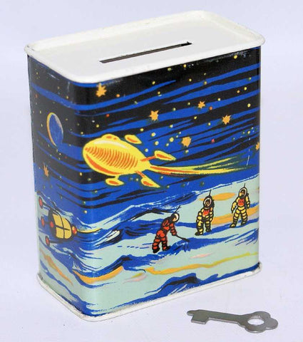 "SPACE X vintage tin toy collectors Bank with space scenes.  4"" Space Toy Theme"